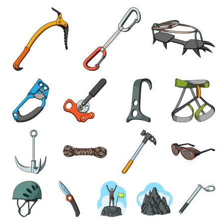 Mountaineering and climbing cartoon icons in set collection for design. Equipment and accessories vector symbol stock web illustration.