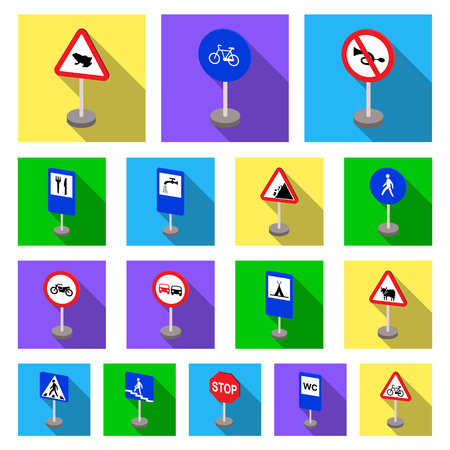 Different types of road signs flat icons in set collection for design. Warning and prohibition signs vector symbol stock  illustration.