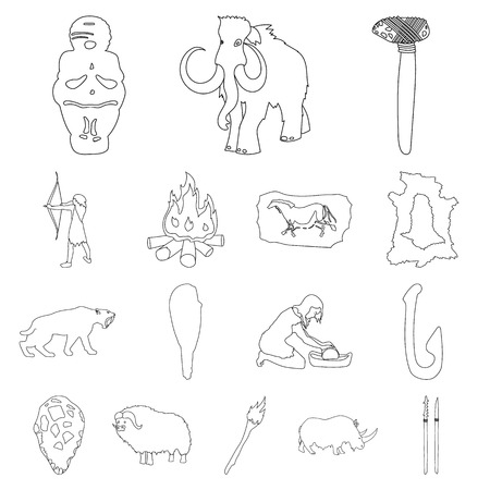 Life in the Stone Age outline icons