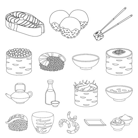 Sushi and seasoning outline icons in set collection for design. Seafood food, accessory vector symbol stock web illustration.