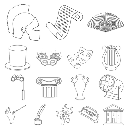 Theatrical art outline icons in set collection for design.Theater equipment and accessories vector symbol stock web illustration. Stock Illustratie