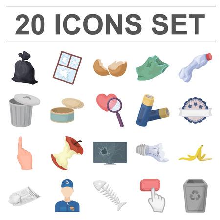 ordures et déchets icônes de bande dessinée dans la collection de modèle. pour la conception des symboles de nettoyage . illustration vectorielle de jeu graphique Vecteurs