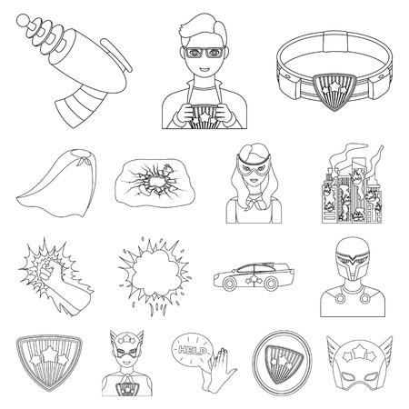 A fantastic superhero outline icons in set collection for design. Superheros equipment vector symbol stock web illustration.
