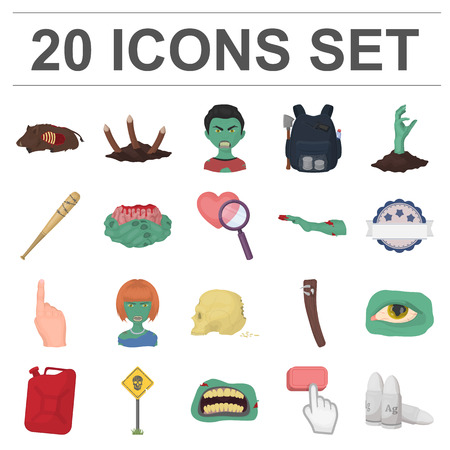 Zombies and Attributes cartoon icons in set collection for design. Dead man vector symbol stock  illustration.