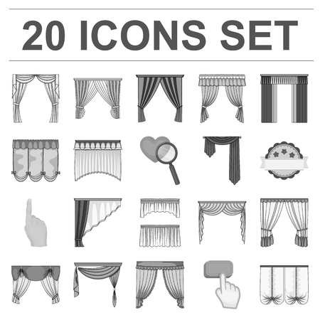 Different kinds of curtains monochrome icons in set collection for design. Curtains and lambrequins vector symbol stock  illustration.