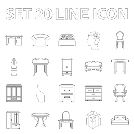Furniture and interior outline icons in set collection for design. Illustration