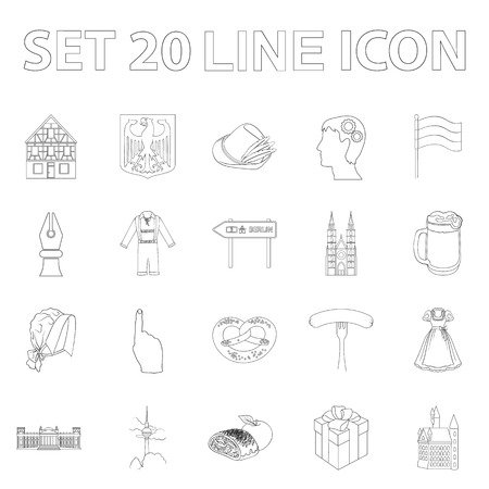 Country Germany outline icons in set collection for design.