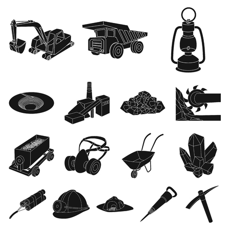 Industry of mining black icons in set collection for design.