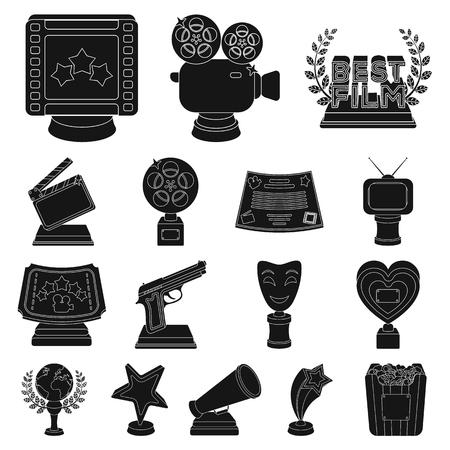 Filmprijzen en prijzen zwarte pictogrammen in decorcollectie voor ontwerp. De wereld film academie vector symbool stock illustratie.