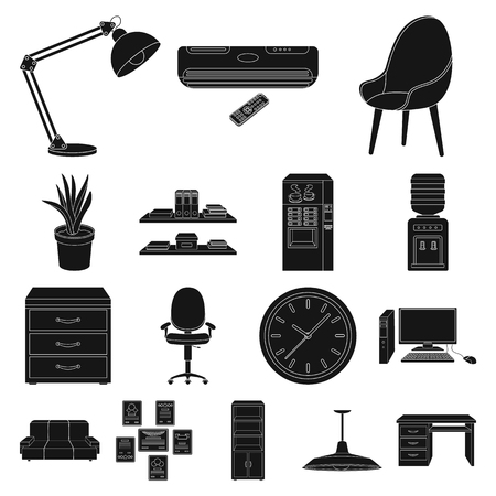 Interior of the workplace black icons in set collection for design. Office furniture vector symbol stock illustration. Illustration