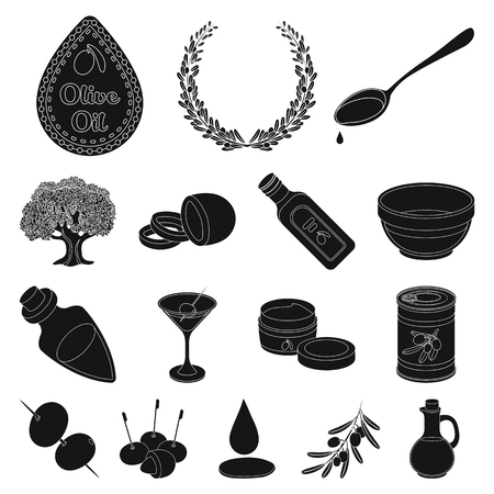 Olive, food black icons in set collection for design. Olive oil, seasoning vector symbol stock illustration.