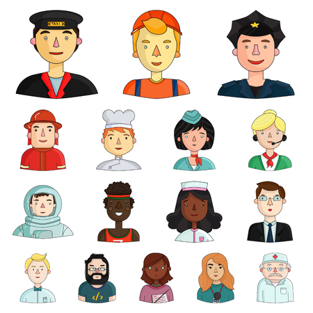 People of different professions cartoon icons in set collection for design.