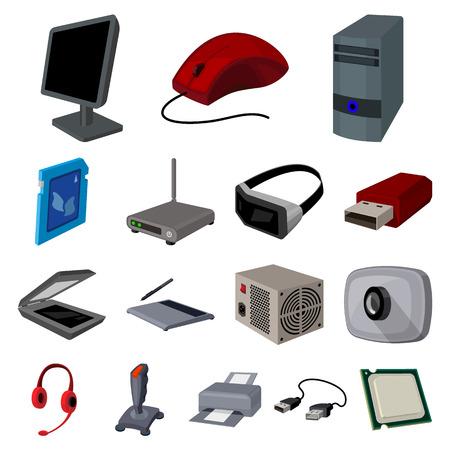 Icônes de dessin animé d'ordinateur personnel dans la collection de jeu pour la conception.