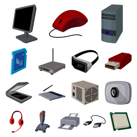 Personal computer cartoon icons in set collection for design.
