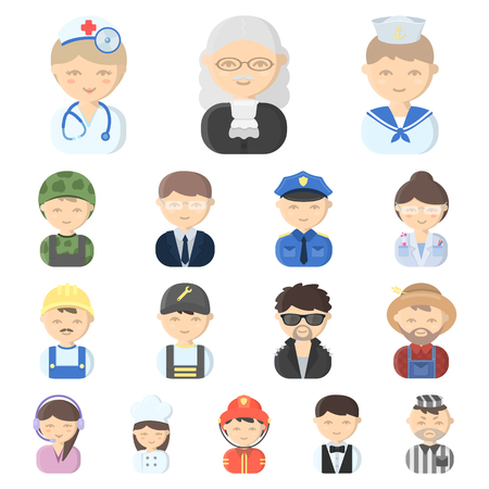 Set of cartoon illustration of people in different professions.