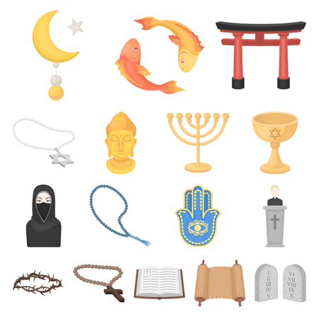 Religion and belief cartoon icons in set collection for design. Accessories, prayer vector symbol stock illustration. Illustration