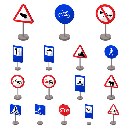 Different types of road signs cartoon icons in set collection for design. Warning and prohibition signs vector symbol stock illustration. 일러스트