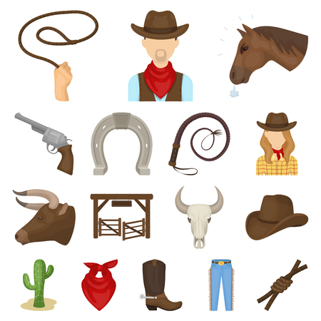 Rodeo, competition cartoon icons in set collection for design. Cowboy and equipment vector symbol stock  illustration. Illustration