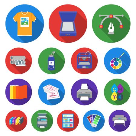 Set of colorful printing and equipment symbol stock web illustration. Illustration