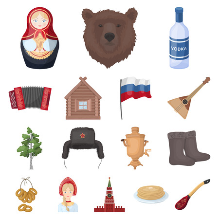 Country Russia, travel cartoon icons in set collection for design. Attractions and features vector symbol stock  illustration. 版權商用圖片 - 92249419