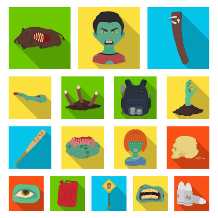 Zombies and Attributes flat icons in set collection for design.