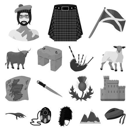 Country Scotland monochrome icons in set collection for design. Sightseeing, culture and tradition vector symbol stock  illustration. Illusztráció