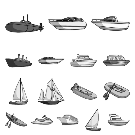 Water and sea transport monochrome icons in set collection for design.