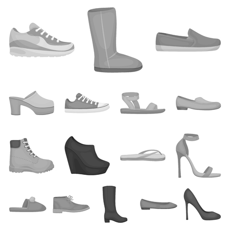 A variety of shoes monochrome icons in set collection for design. Illustration