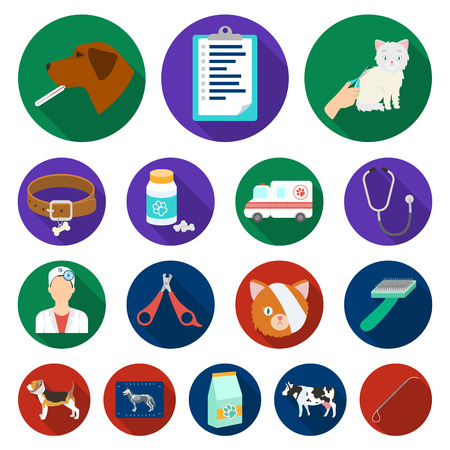 Veterinary clinic flat icons in set collection for design. Treatment of a pet vector symbol stock web illustration. Stock Illustratie