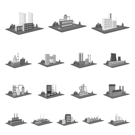 Fabriek en planten zwart-wit pictogrammen in vastgestelde inzameling voor ontwerp. Productie en onderneming vector isometrische symbool voorraad web illustratie.