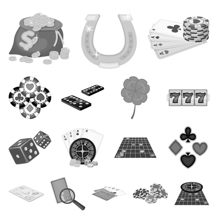 Casino and equipment monochrome icons in set collection for design. Gambling and money vector symbol stock web illustration.