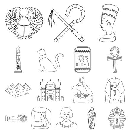 Set of ancient Egypt outline symbol stock web illustration.