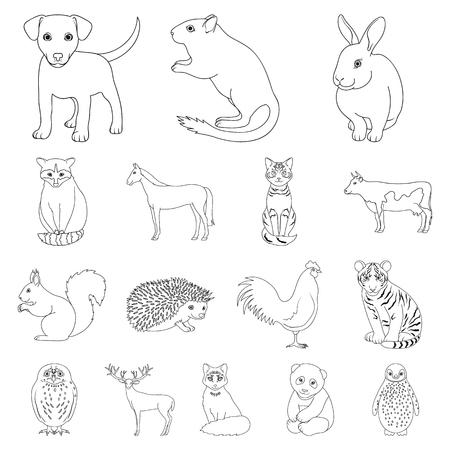 Set of realistic animals outline symbol stock web illustration. Illustration