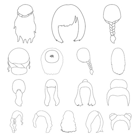 Set of female hairstyle outline icons. 矢量图像