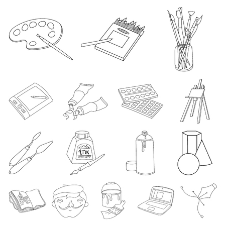 Set of painter and drawing outline icons