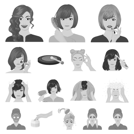 Care of hair and face monochrome icons in set collection for design. Perfumes and makeup vector symbol stock web illustration. Illustration