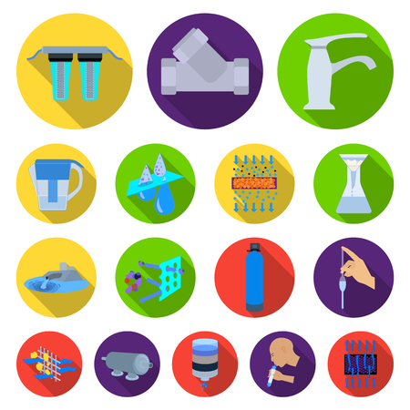 Water filtration system flat icons in set collection for design. Cleaning equipment vector symbol stock web illustration. Vectores