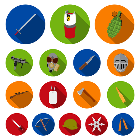 Types of weapons flat icons in set collection for design. Firearms and bladed weapons vector symbol stock web illustration.