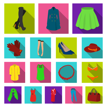 Womens Clothing flat icons in set collection for design.Clothing Varieties and Accessories vector symbol stock web illustration.