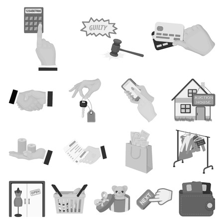 E-commerce and business monochrome icons in set collection for design. Buying and selling vector symbol stock web illustration. Ilustração