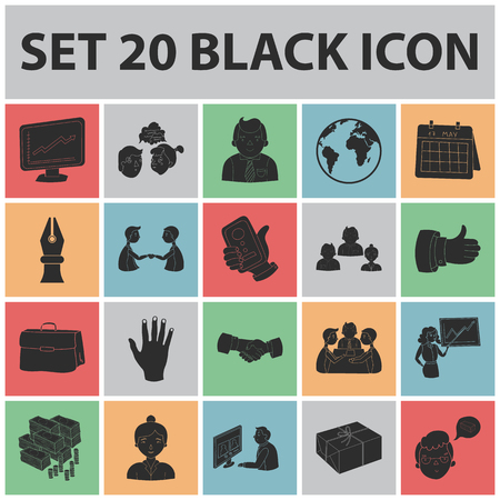 Business Conference And Negotiations black icons in set collection for design.