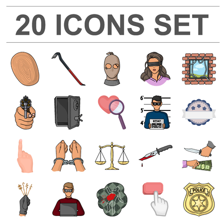 Crime and Punishment cartoon icons in set collection for design.Criminal vector symbol stock web illustration. 일러스트