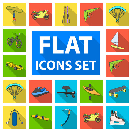 Extreme sport flat icons in set collection for design.Different kinds of sports vector symbol stock  illustration.