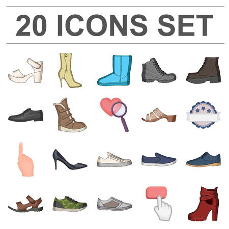 Different shoes cartoon icons in set collection for design. Mens and womens shoes vector symbol stock  illustration. Illustration