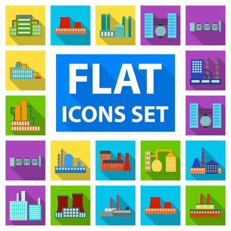 Factory and facilities flat icons in set collection for design. Factory and equipment vector symbol stock  illustration. Vettoriali
