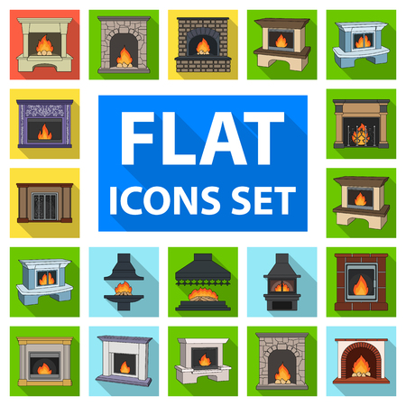 Different kinds of fireplaces flat icons in set collection for design.Fireplaces construction vector symbol stock  illustration. Illustration