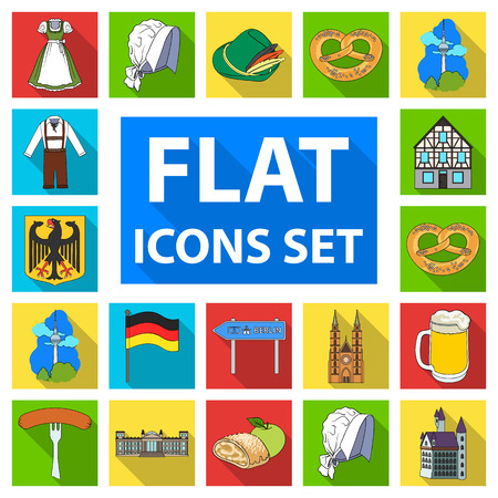 Country Germany flat icons in set collection for design. Germany and landmark vector symbol stock web illustration.