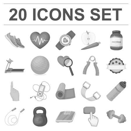 Gym and training monochrome icons in set collection for design. Gym and equipment icons in set collection for design. Ilustração