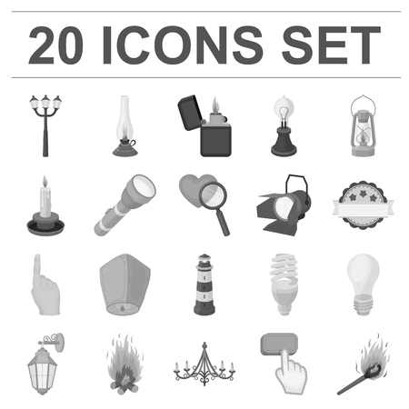 Light source monochrome icons in set collection for design. Light and equipment vector symbol stock web illustration.