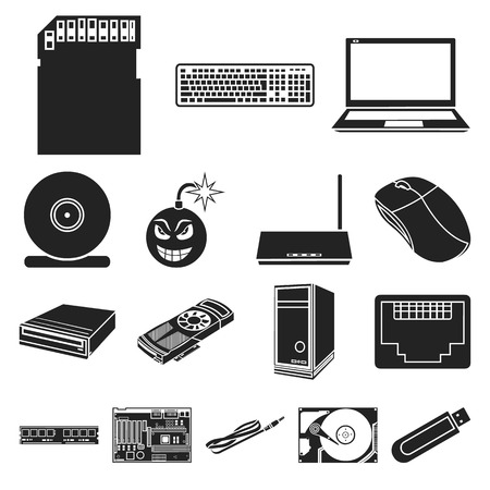Personal computer black icons in set collection for design. Иллюстрация